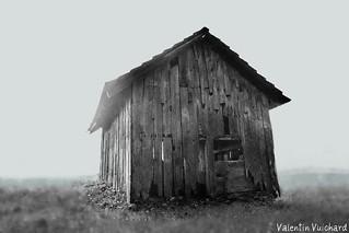 _23_00032_qurstu Tiltshift b&w - Switzerland, Gruyère Region - Old hayloft. Cabanon-fenil des Mollenchires, alt. 905m.