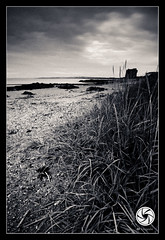 Towards The Tower (Martello Tower) (M Fotografie) Tags: ocean county ireland light sea dublin irish seascape black tower beach nature water clouds canon landscape coast sand europe flickr view country north grain dramatic martello toning 2011 donabate 1116 60d canon60d tokina1116