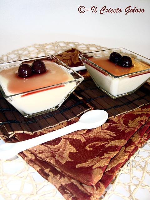 Mousse di riso al cioccolato bianco con griottines