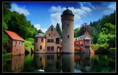 - Wie im Mrchen - Like a fairy tale - (Haldorfer) Tags: travel blue vacation sky tower castle tourism water architecture fairytale germany bayern deutschland bavaria swan holidays wasser