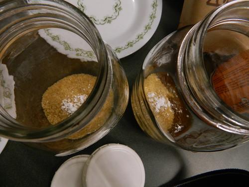 Sugar and calcium carbonate