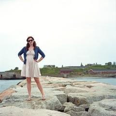 Brittany at Spring Point Light (Christopher Bersbach) Tags: lighthouse film lenstagged brittany maine 120film breakwater mamiyac330 springpointlight kodakportra160 cameratagged mamiyasekor80mmf28