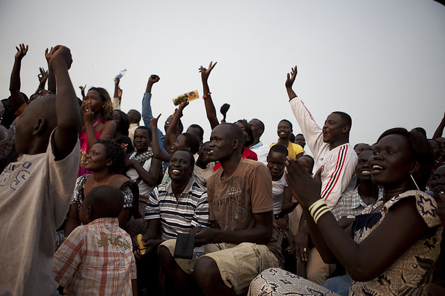 At a South Sudan basketball game. Photo cooyright Conor Ashleigh
