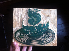 """Leaf Boat"" color block carved! (Tugboat Printshop) Tags: printmaking blockprint woodcut woodblock reliefprint lifeofleisure woodcutart paulroden tugboatprintshop woodblockart traditionalprintmaking valerielueth colorwoodcut colorwoodblock pittsburghartists pittsburghprintmakers tugboatprintshoppittsburgh lifeofleisureseries tugboatprints lifeofleisurewoodcuts leafboatwoodcut woodcarvingleafboat leafboatprint leafboatart"