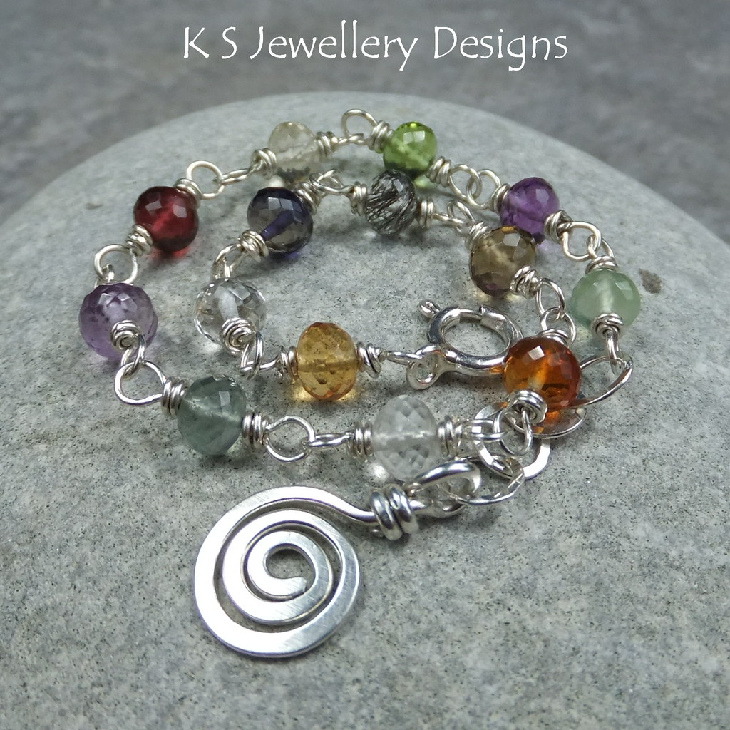 Glory of Colour - Multi-Gemstone Sterling Silver Bracelet and Spiral Charm (KS35)