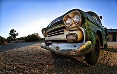 old chevy truck (tanguera75) Tags: sunset green truck cool shadows desert pov diner retro fisheye chevy backlit palmdale