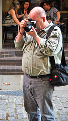Add-on Viewfinder? (garryknight) Tags: camera man london canon photographer powershot creativecommons shadthames viewfinder lightroom sx220hs