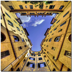 The funnel of sky (Nespyxel) Tags: windows sky vortex rome roma lines architecture buildings design triangle pov perspective vertigo courtyard lookingup pointofview cielo forms dizzy 8mm architettura funnel stefano palazzi cortile prospettiva finestre geometrie linee geometries triangolo scarselli noseup imbuto colorphotoaward braketing nespyxel sigma816