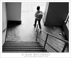 Stairs, Person Walking (G Dan Mitchell) Tags: sanfrancisco china california street door city shadow urban blackandwhite bw usa blur monochrome stairs trash concrete person town stair steel stock cement steps stairway litter sidewalk northamerica walls railing stockton motionwalking