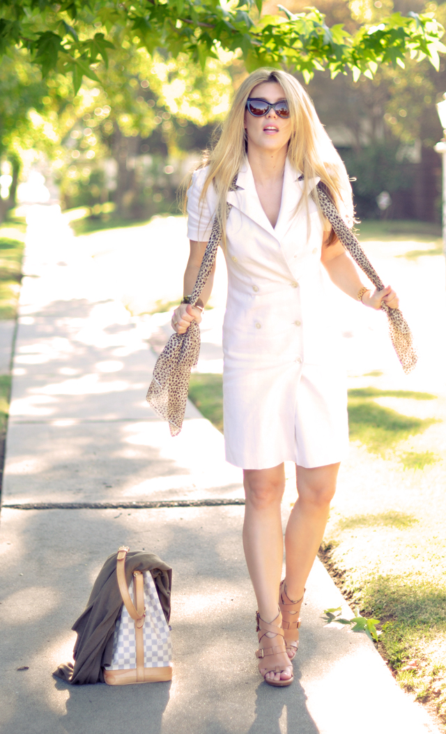 white linen double breasted dress