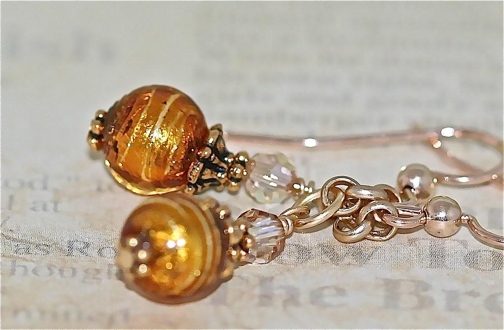 Topaz Gold Beaded Earrings