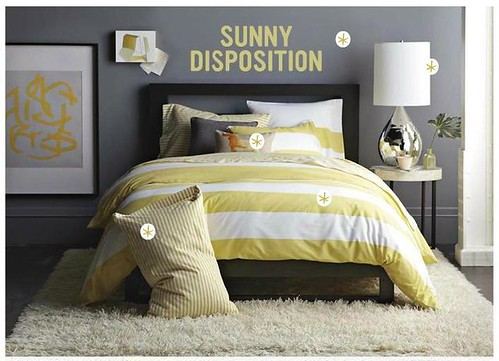 Gray + yellow bedroom: Benjamin Moore 'Shadow Gray' in West Elm by xJavierx