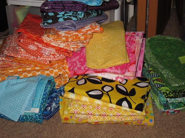 Mikaela's Quilt - fabric pile