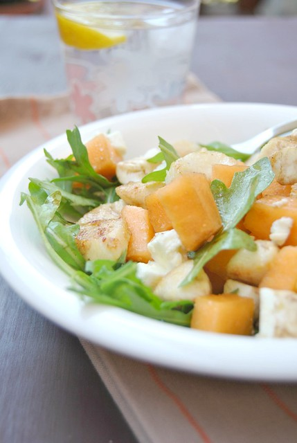 Chicken Salad with Feta Cheese and Melon