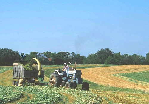 Harvesting hay from a field that is being farmed along the contour of the land.  FSA loan programs provide America's farm families with the support they need to feed America and the world. This is a USDA photo from NRCS.