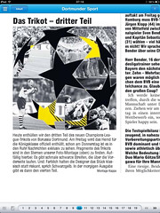 Ruhr Nachrichten (RN) vom 02.08.2011: Das Trikot - dritter Teil (Borussia Dortmund - BVB - Champions League)