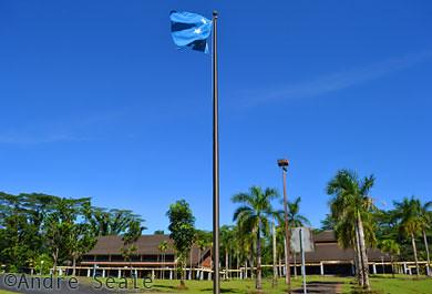 Bandeira em Palikir, capital de Pohnpei