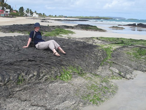 Anne on a ropy pahoehoe flow on the beach