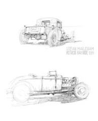 model A pickup and roadster (Stefan Marjoram) Tags: car pencil vintage sketch drawing watercolour hotrod hayride dragster urbansketches