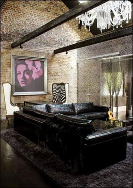 lenny kravitz neworleans living roomwithembossedsofaandbillieholidayprint