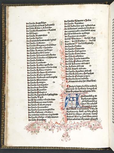 Penwork decoration in Jacobus de Voragine: Legenda aurea sanctorum, sive Lombardica historia