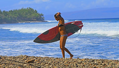 summer (bluewavechris) Tags: ocean pink sea summer sun sexy beach water girl fun hawaii surf legs body 5 surfer board tan wave maui cobblestone bikini surfboard swell thruster wahine surfergirl