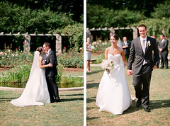 JessicaJosh_Ceremony2 (inContrast Images) Tags: park wedding gardens photography groom bride blog nc kiss downtown ceremony northcarolina raleigh aisle exit firstkiss raleighrosegarden incontrast incontrastimages