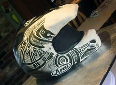 DSCN7946 (zacocakes) Tags: white black cake 3d painted helmet tribal dirtbike motocross aria sculpted warfare