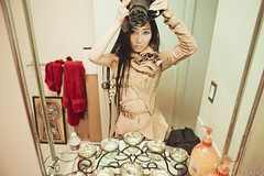 amazing dress  (Alli Jiang) Tags: camera selfportrait reflection fashion bathroom mirror photoshoot modeling dressingroom behindthescenes sneakpeek 2011 allijiang