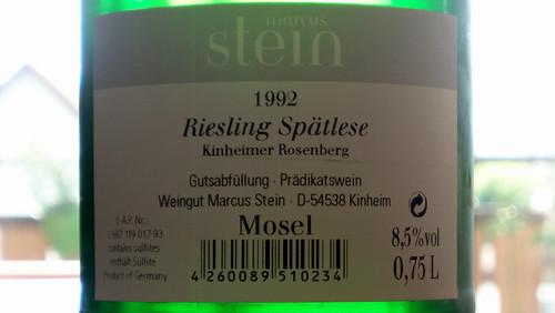 1992 Kinheimer Rosenberg Riesling Spätlese Weingut Marcus Stein - Rückenetikett