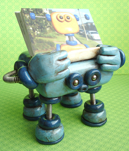 Robot Sculpture Business Card Holder Blue Bobo by HerArtSheLoves