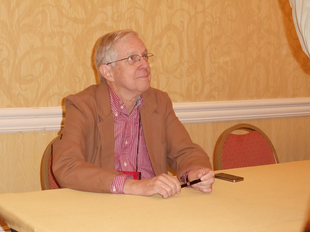 Bill Crider at signing table