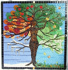 Tree of Life (Waschbear - Frances Green) Tags: autumn winter summer woman tree art fall butterfly spring mosaic mixedmedia goddess picture fourseasons apples etsy daffodils treeoflife appletree godess mille treegoddess dawanda treewoman treeoflifemosaic waschbear piecmakers