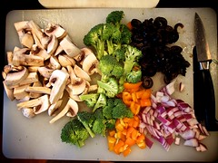The Cutting Board (Jack Amick) Tags: food cooking make mushrooms baking board cook tasty olympus broccoli vegetable pizza olives cutting onion bake e5