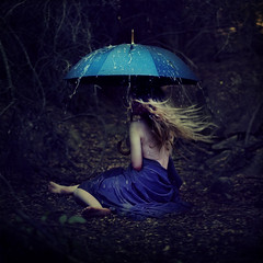 surviving the storm (brookeshaden) Tags: cold rain umbrella woods wind surreal blanket hiding survival whimsical fineartphotography brookeshaden texturebylesbrumes