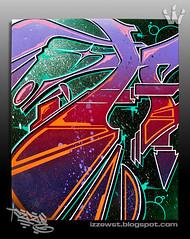 """The Letter A"" 16"" X 20"" Canvas (WSTECH) Tags: illustration graffiti canvas izzy aerosolart wildstyle graffiticanvas mixedmediacanvas wildstyletechnicians izzewst theletterseries izze1"