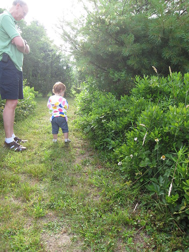 Checking out the flora with Granddad