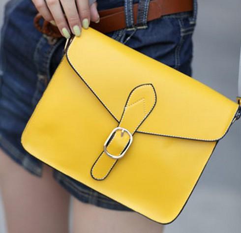 VLS 019 yellow 糖果色邮差包皮带装饰复古包单肩包斜跨包女包包