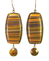 Scrap Clay Striped Earrings - Olive, Lavender, Brass and Gold with Faceted Tiger Eye Drops