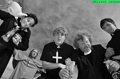 Untitled by Alison Laredo (alison laredo) Tags: street ireland blackandwhite bw cross drink collar groupportrait bishop castlebar fatherted preist fatherjack fatherdougal wwwalisonlaredocom finbarhobanpresents fathertedfancydress promotionphotography