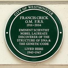 Photo of Francis Crick green plaque