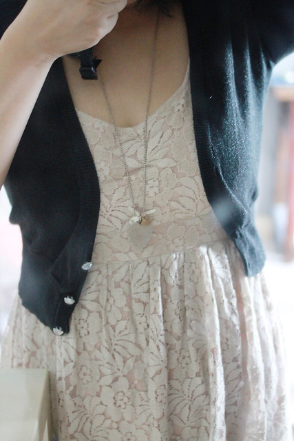 Dusty Rose Lace Dress & Black Cardi