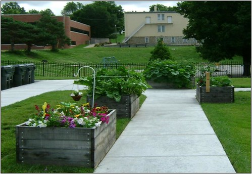 These raised-bed gardens are located at Trinity Place Senior Residence in Atchison, Kan., which is managed by Homestead Affordable Housing.  Homestead Affordable Housing shared their success of implementing raised-bed gardens at their housing projects during the 2011 Rural Rental Housing Association of Kansas Conference in Great Bend.