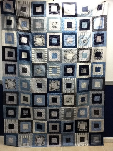 Blue Squares Quilt Top Done!