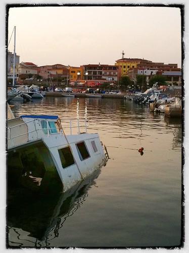 Sinking boat, Portoscuso, Sardinia by helencarter1001