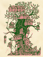 Birdhouse (Bert van Wijk) Tags: tree bird leaves illustration antique birdhouse social system 50s classes overpopulation