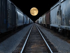 Full moon rising (builder24car) Tags: railroad graffiti pov explore illusion trainart flickrexplore fullmoonrising paintedboxcar benchingthefreights