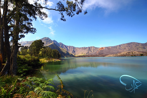 Segara Anak Lake with Mount Barujari Volcano and Mount Rinjani Peak