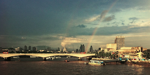 Rainbow, over the South Bank, way up high, ...