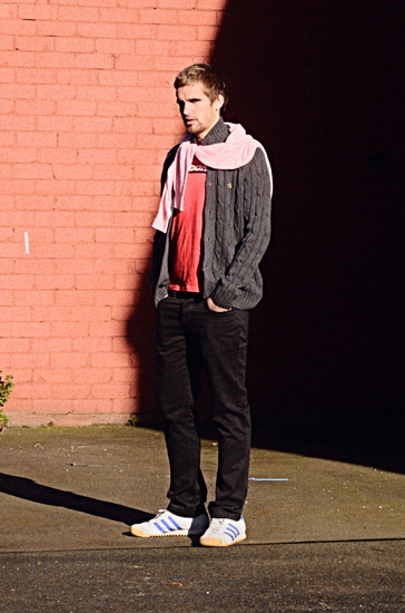 Rapture In Sydenham - MERC Pyland Pink Knit Jumper & Sneath Charcoal Knit button front Cardigan. Thrift shop 'new' Red SAUCONY Tee. Editorial Fashion Photography